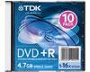 TDK DVD+R 16x, 10 pièces en slimcase