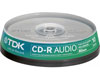 TDK CD-R Audio 40x, 10 pi�ces en cakeboxbox