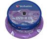 Verbatim DVD+R 8x Double Couche Mat argenté , 25 pièces en cakebox