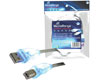 Cble USB 2.0 A/B bleu avec LEDs, 1,8m