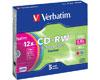 Verbatim CD-RW 8-12x couleur, 5 pièces en slimcase