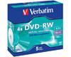 DVD-RW Data/Video, 4x certifié, 5 pièces en jewelcase