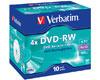DVD-RW Data/Video, 4x certifié, 10 pièces en jewelcase