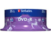 Verbatim DVD+R 16x certifié, 25 pièces en cake box