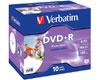 Verbatim DVD+R imprimable 16x certifié, 10 pièces en jewelcase