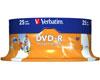 Verbatim DVD-R imprimable 16x certifié, 25 pièces en cake box